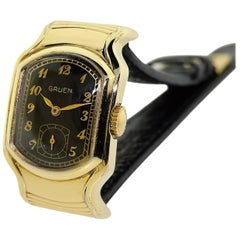 Gruen Yellow Gold Filled Art Deco Wrist Sider with Original Black Dial from 1938