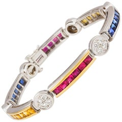 Sapphire Ruby and Diamond Flexible Tennis Multi-Color Line Bracelet