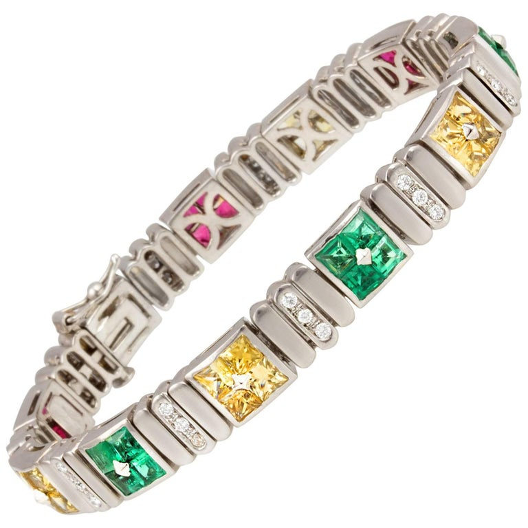Ella Gafter Ruby Emerald Sapphire Diamond Flexible Multicolor Line Bracelet