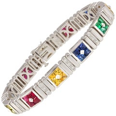 Ella Gafter Ruby Emerald Blue Sapphire Diamond Flexible Multicolor Line Bracelet