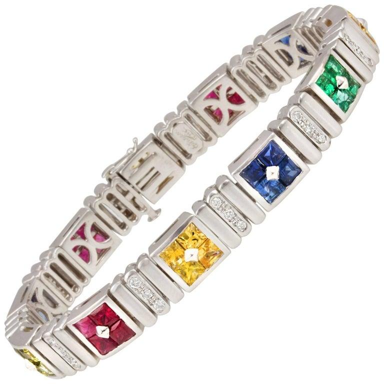 Ella Gafter Ruby Emerald Blue Sapphire Diamond Multicolor Line Bracelet