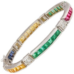 Ella Gafter Sapphire Ruby Emerald Diamond Multicolor Tennis Bracelet