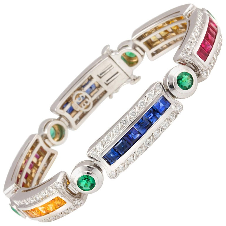 Ella Gafter Sapphire Ruby Emerald Diamond Flexible Multicolor Line Bracelet