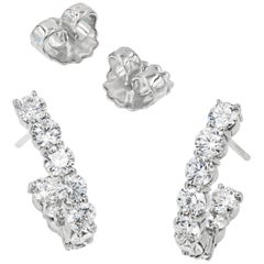 J-Hoop Round Diamond Earrings in 18 Karat White Gold