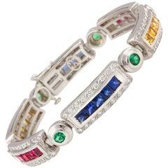 Ella Gafter Sapphire Ruby Emerald Diamond Multicolor Line Bracelet