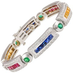 Ella Gafter Sapphire Ruby Emerald Diamond Flexible Multicolor Line Bracelet