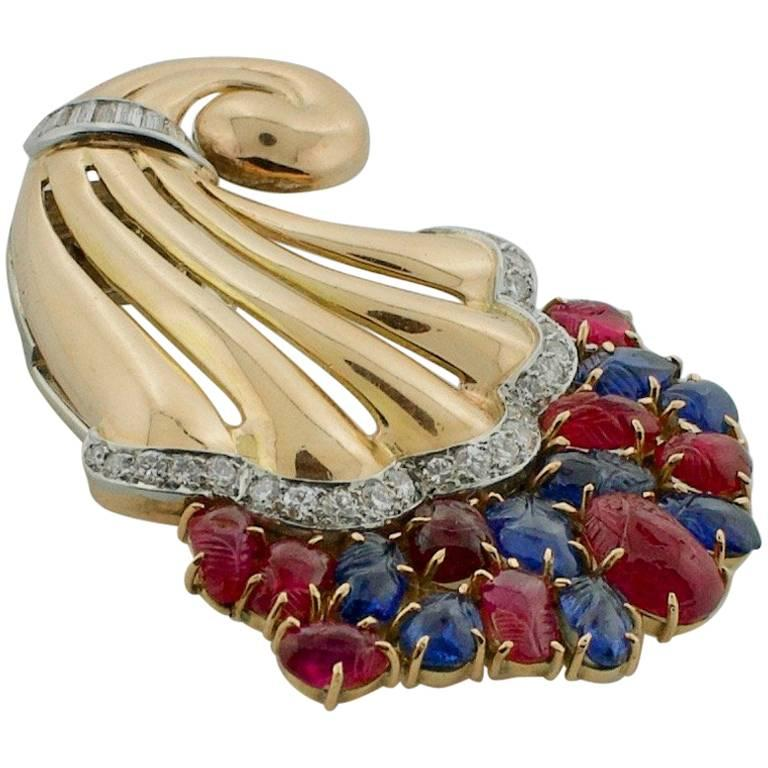 'Tutti Frutti' Style 1950s Carved Ruby, Sapphire and Diamond Brooch