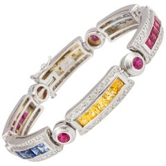 Ella Gafter Sapphire Ruby Emerald Diamond Flexible Line Multicolor Bracelet