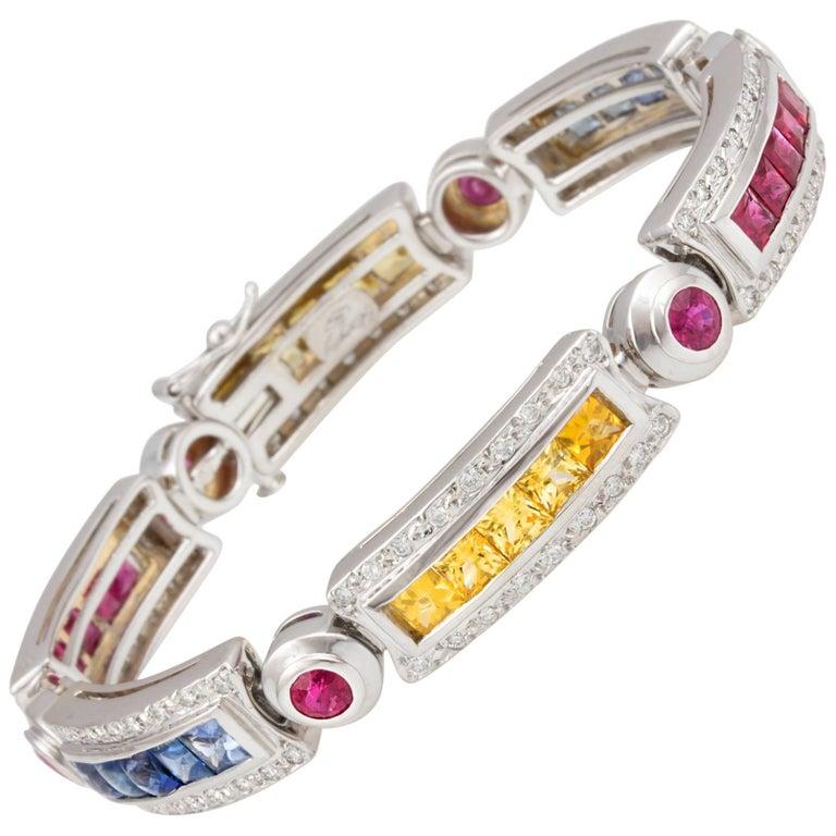 Ella Gafter Sapphire Ruby Emerald Diamond Flexible Line Multicolor Bracelet