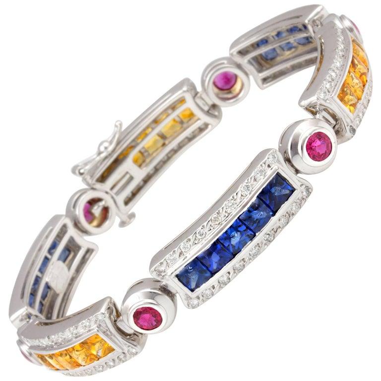 Ella Gafter Sapphire Ruby Emerald Diamond Multicolor Line Bracelet For Sale