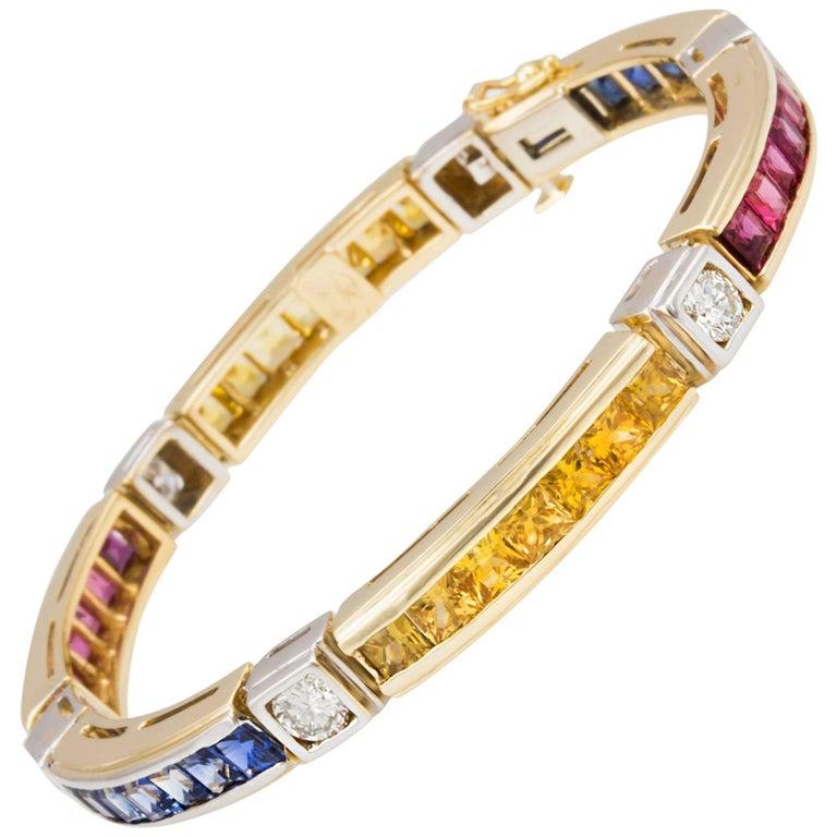 Ella Gafter Sapphire Ruby Diamond Flexible Tennis Multicolor Line Bracelet