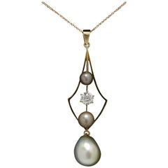 GIA Certified Natural Pearl Diamond Antique Pendant Drop Necklace Art Nouveau