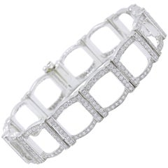 Tiffany & Co. Diamond and Platinum Open Square Link Bracelet Rounds 4.00 Carat