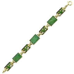 Art Deco Jade Dragon Bracelet Natural Jadeite Yellow Gold Enamel Links Chinese