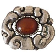 Thorvald Bindesbøll Brooch from Holger Kysters Smithy with Red Stone