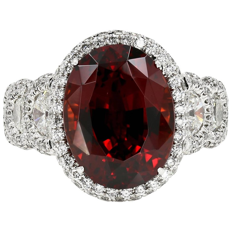 Tanzanian Malaya Garnet and Diamond Ring in Platinum
