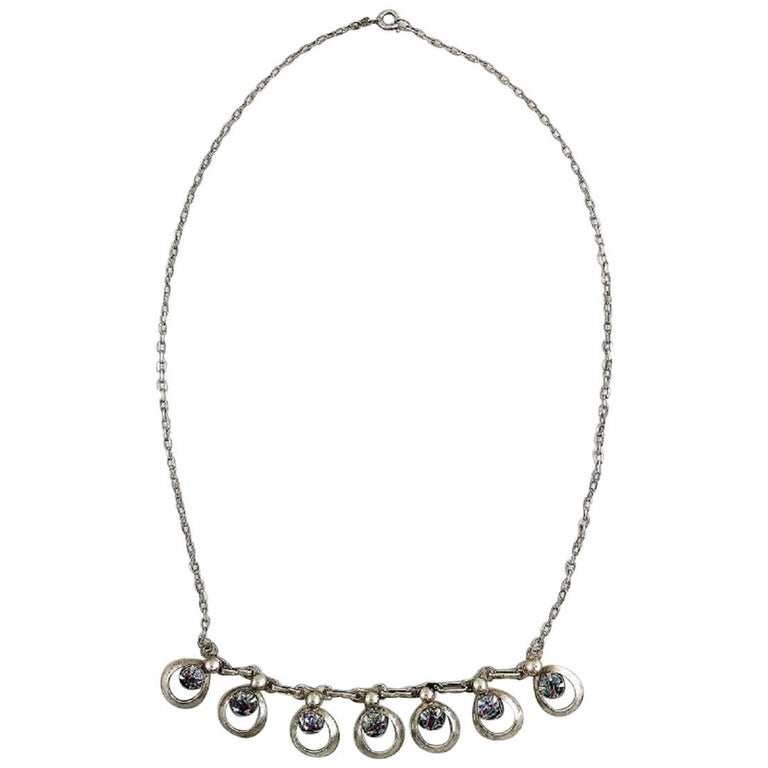 Danish Design Sterling Silver Necklace with Stones in Modern Design