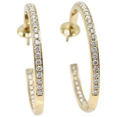 Cartier Inside Out Round Diamond Hoop Earrings 1.80 Carat 18 Karat Yellow Gold