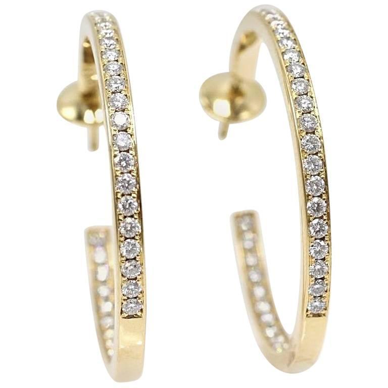 Cartier Inside Out Round Diamond Hoop Earrings 1.80 Carat 18 Karat Yellow Gold