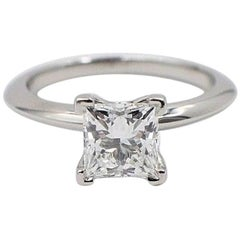Tiffany & Co. Diamond Engagement Ring Princess Cut 1.18 Carat G VS2 Platinum