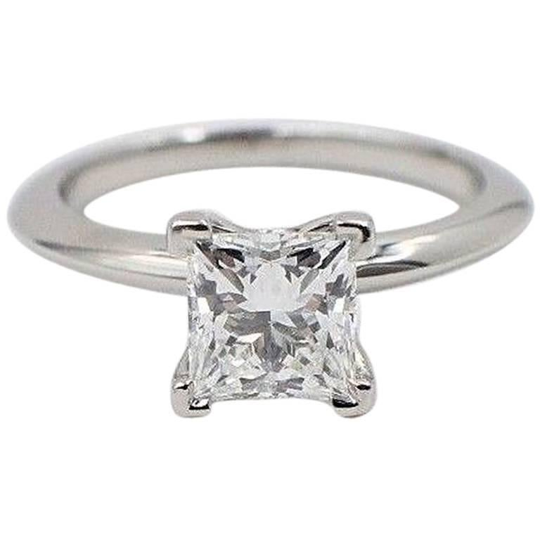 Tiffany & Co. Diamond Engagement Ring Princess Cut 1.18 Carat G VS2 Platinum
