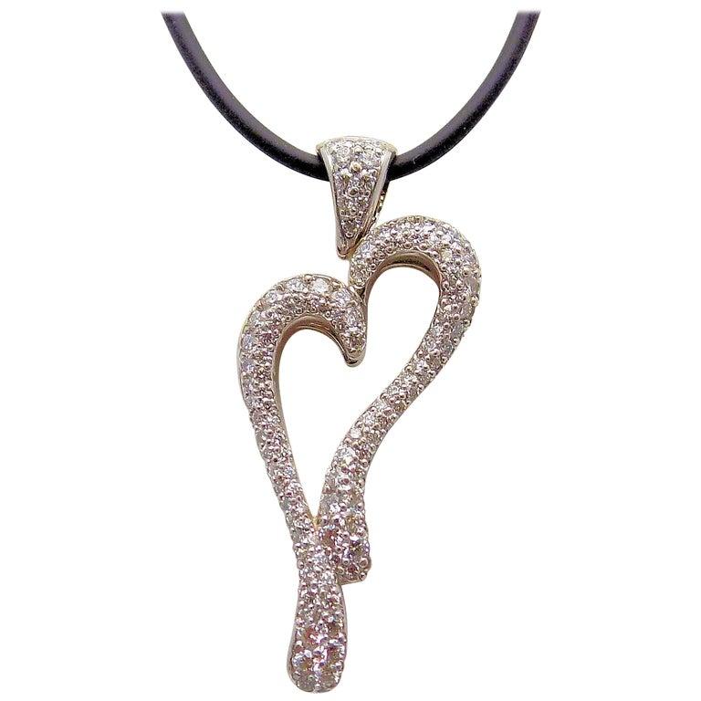 18 Karat White Gold Pave Diamond Heart Pendant by David Gardner For Sale
