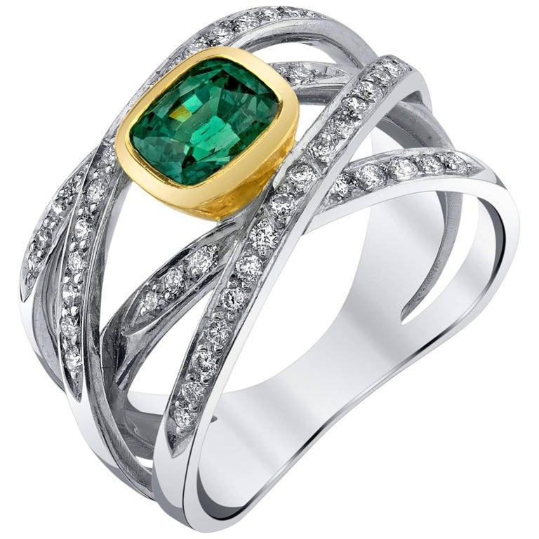 1.60 Carat Cushion Alexandrite and Diamond 18 Karat White and Yellow Gold Ring