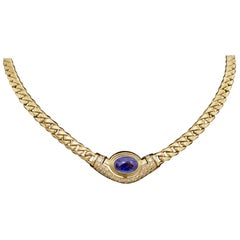 Vintage Bulgari Sapphire and Diamond Necklace in 18 Karat Yellow Gold