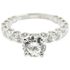 1.17 Carat Round Brilliant Diamond Engagement Ring 18 Karat White Gold