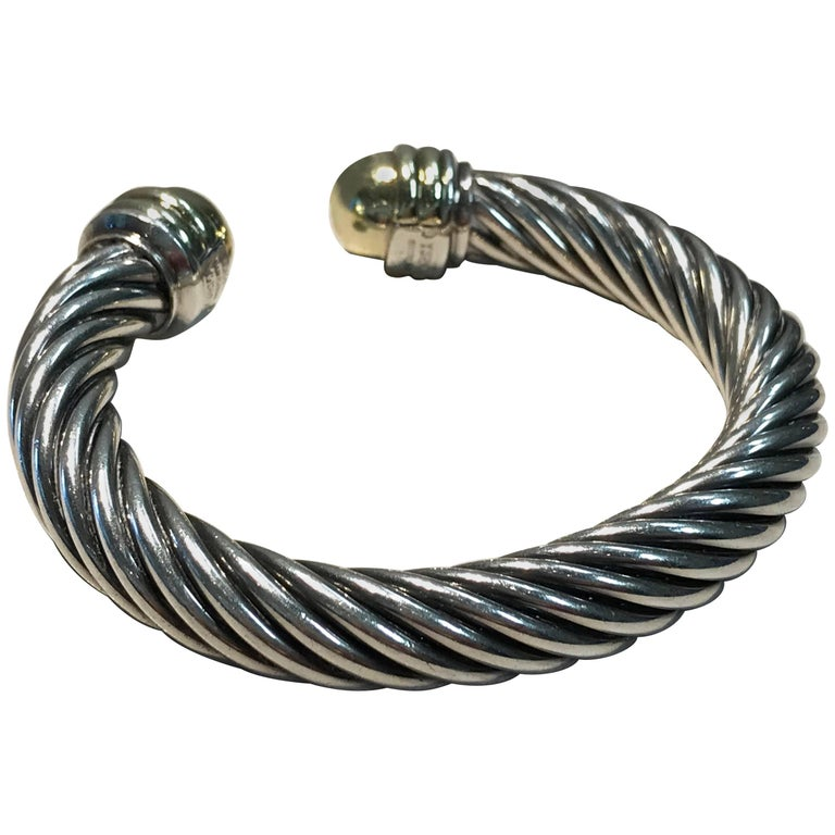 David Yurman Two-Tone Sterling Silver/Gold Classic Cable Cuff Bracelet