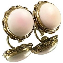 Antique Gold Angel Skin/Pink Blush Coral Earrings