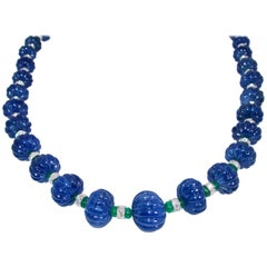 Certed Natural No Heat Burma Sapphire, Emerald, Diamond Necklace, Pierre/Famille