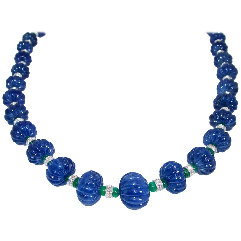 Certed Natural No Heat Burma Sapphire, Emerald, Diamond Necklace, Pierre/Famille