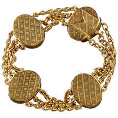 Antique French Locket Bracelet 18 Carat Gold Silver Victorian, circa 1860