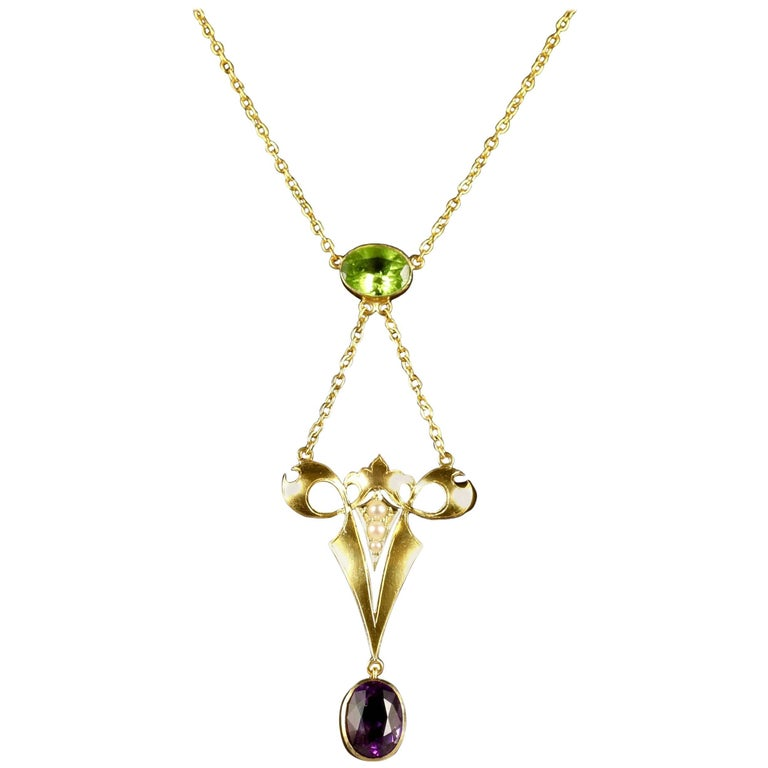 Antique Victorian Suffragette Necklace 15 Carat Gold 2.50 Carat Amethyst For Sale