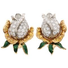Oscar Heyman & Brothers a Pair of Yellow Gold and Diamond Earrings, circa 1960