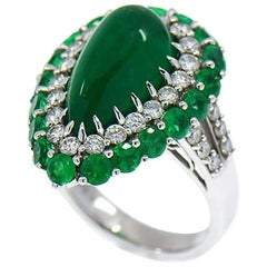 GIA 5.82 Carat Pear Shape Colombian Emerald and Diamond Double Halo Ring