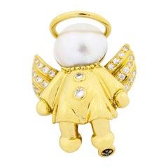 Fred Diamond Pearl 18 Karat Yellow Gold Angel Brooch