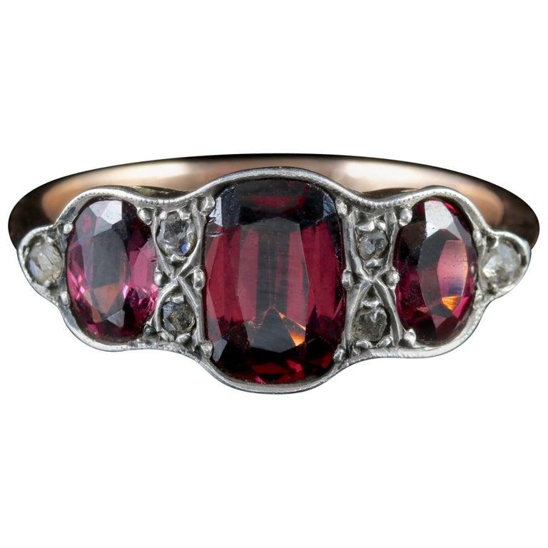 Antique Victorian Garnet Trilogy Ring Diamond 9 Carat Gold, circa 1900