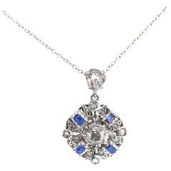 Georgian Sapphire Diamond Cluster Pendant