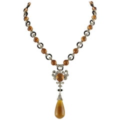 Topaz Onyx Emerald Diamond Rose Gold and Silver Necklace