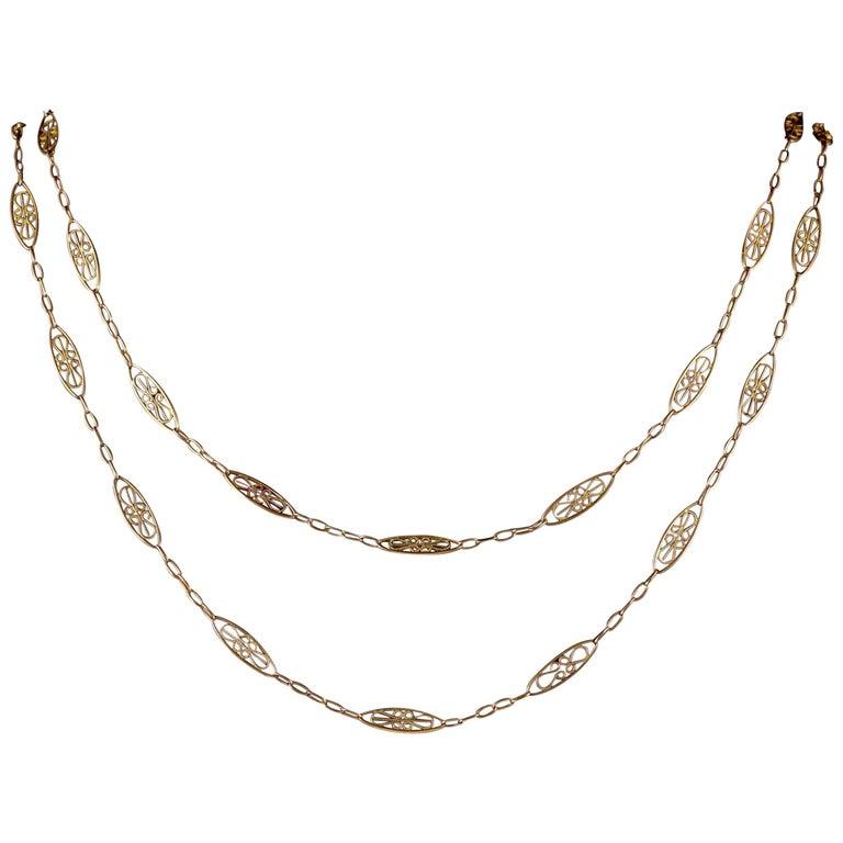 Antique Victorian Guard Chain 18 Carat Gold on Silver, circa 1900
