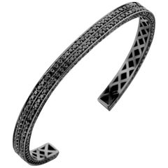 18 Karat Black Gold Black Diamond Brute Bangle Bracelet