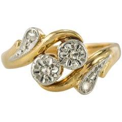 French 19th Century Rose Cut Diamond Yellow Gold Ring