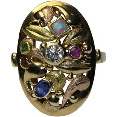 14k Yellow and Red Gold Cocktail Ring. Diamond, Sapphire, Emerald, Ruby and Opal