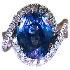 1960s GIA Certified No Heat Oval 6.99 Carat Ceylon Sapphire Engagement Ring