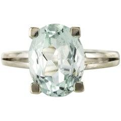 3,80 Carat Aquamarine 18 Karat White Gold Ring