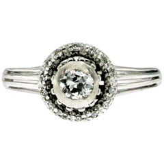 Art Deco Diamond Engagement White Gold Ring