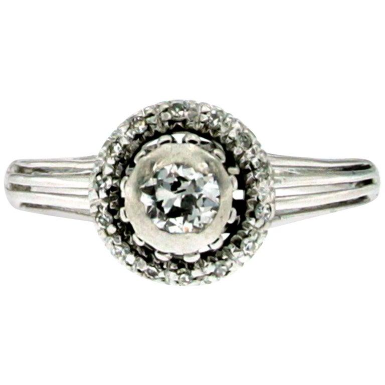 Art Deco Diamond Engagement White Gold Ring
