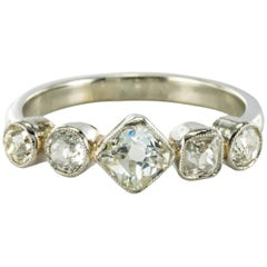 1900s Belle epoque Diamond Platinum and White Gold Band Ring